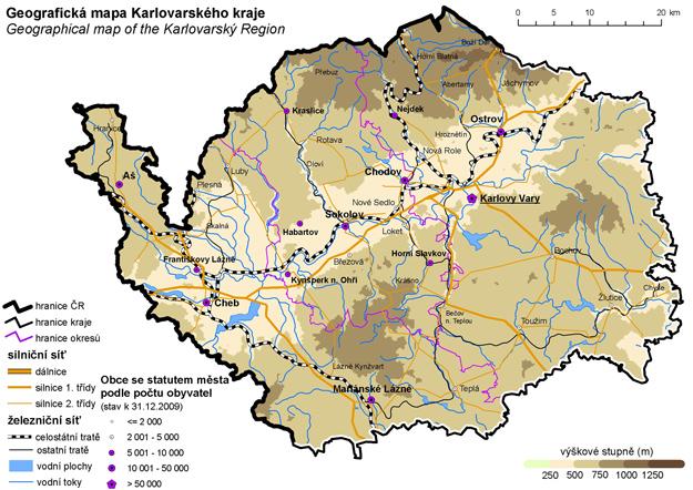 Geografická mapa Karlovarského kraje